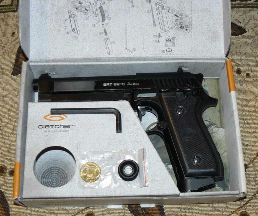Обзор пневматического пистолета Gletcher BRT 92FS auto