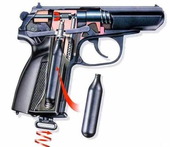 Пневматический пистолет в разрезе
